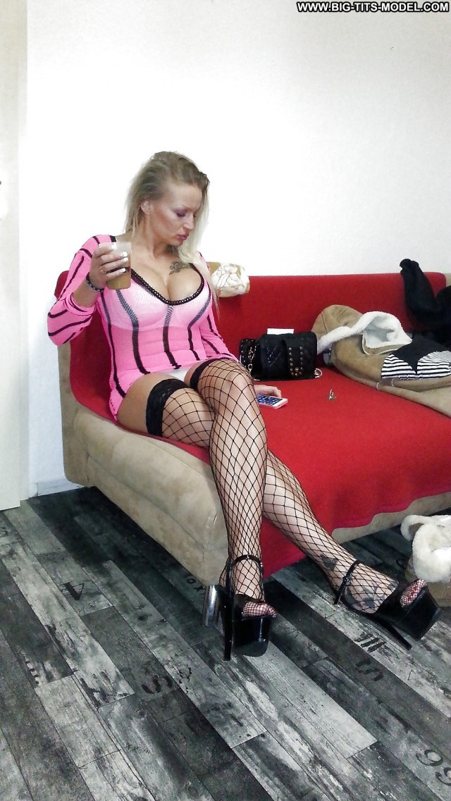 Colette Private Pics Heels Stockings Big Boobs Blonde